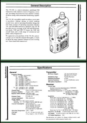 Yaesu Musen Yaesu Vx 1r Vhf Uhf Ultra Compact Instructions