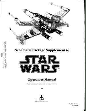 Atari Star Wars Operators Manual And Schematic Packege