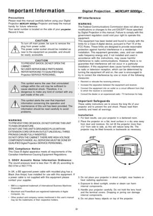 Digital Projection Mercury 5000gv Dmd Projector Users Manual