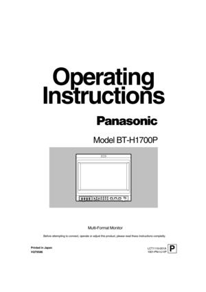 Panasonic Monitor Bt H1700 Owners Manual