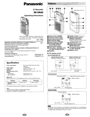 Panasonic Ic Recorder Rr-dr60 Operating Instructions