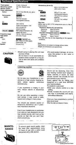 Panasonic Mini Cassette Recorder Rq-l50, Rq-l30, Rq-l10