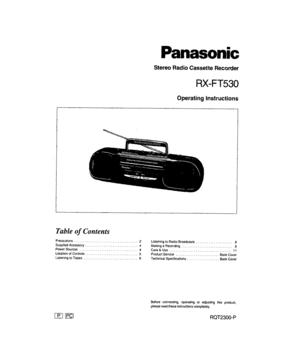 Panasonic Stereo Radio Cassette Recorder Rx-ft530