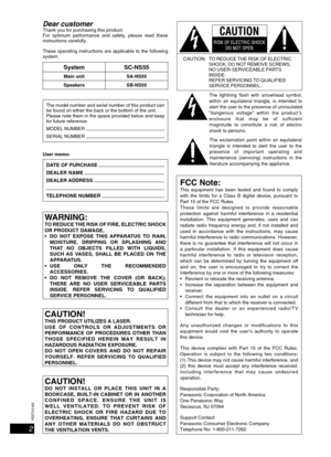 Panasonic Cd Stereo System Sc-ns55 Operating Instructions