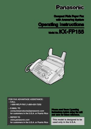 Panasonic Kx Fp155 Fax Machine Operating Instructions
