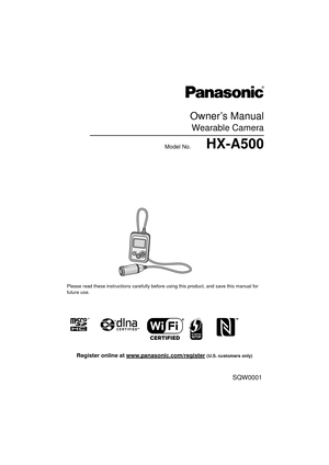 Panasonic Hx A500 Owners Manual