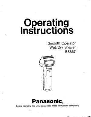 Panasonic Shaver Wet Dry Es 867 Operating Instructions