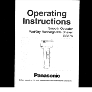 Panasonic Shaver Wet Dry Es 876 Operating Instructions
