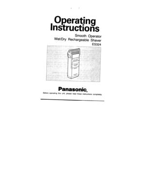 Panasonic Shaver Wet Dry Es 324 Operating Instructions