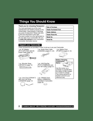 Panasonic Pv L352 Operating Instructions Manual