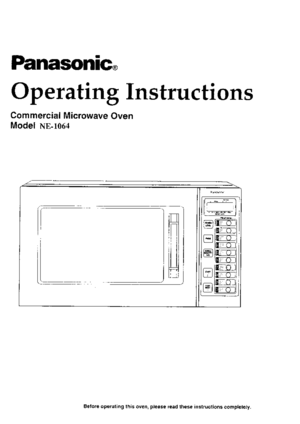Panasonic Commercial Microwave Ovens Ne 1064 Operating