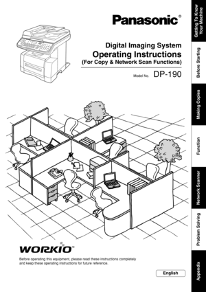 Panasonic Network Scan Functions Dp 190 Operating Instruction