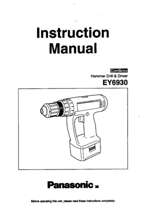 Panasonic Ey6930 Instruction Manual