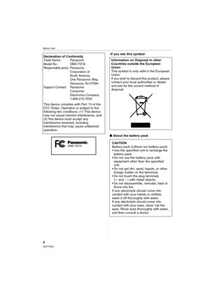 Panasonic Dmc Fz18 Operating Instructions Manual