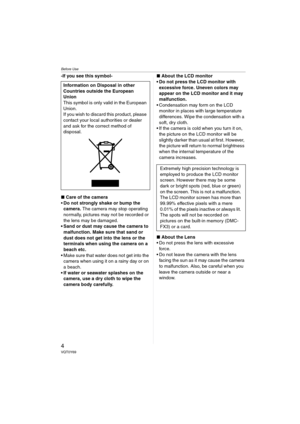 Panasonic Dmc Fx07 Operating Instructions Manual