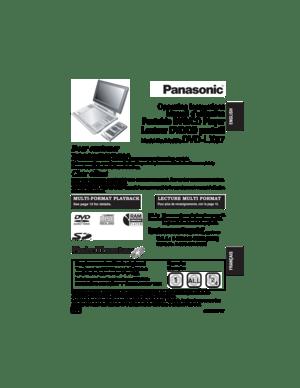 Panasonic Dvd Lx97 Operating Instructions Manual