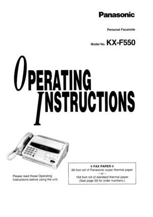 Panasonic Kx F550 Operating Instructions Manual