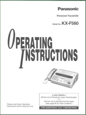 Panasonic Kx F560 Operating Instructions Manual