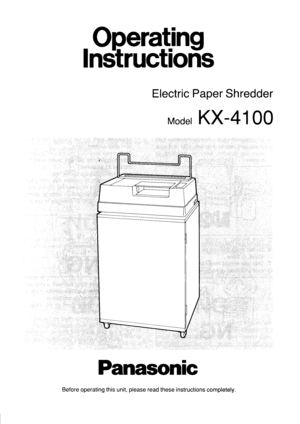 Panasonic Electric Paper Shredder Kx 4100 Operating