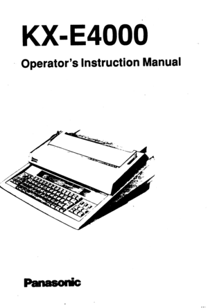 Panasonic Electric Typewriter Kx E4000 Instruction Manual