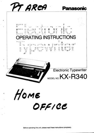Panasonic Electronic Typewriter Kx R340 Operating Instructions