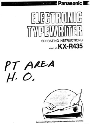 Panasonic Electronic Typewriter Kx R435 Operating Instructions