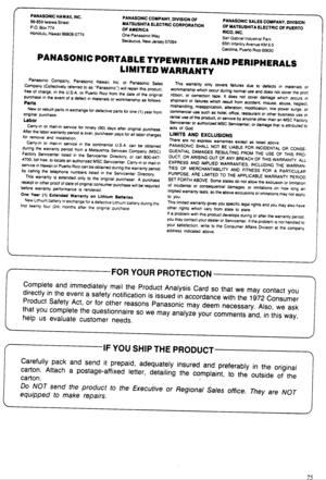 Panasonic Electronic Typewriter Kx R440 Operating Instructions