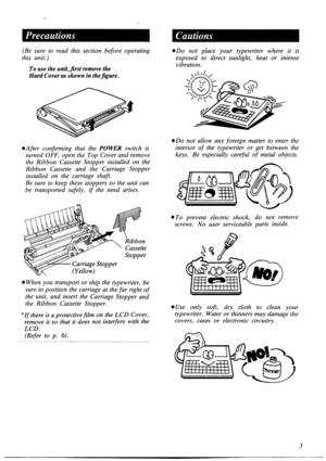 Panasonic Electronic Typewriter Kx R475 Operating Instructions