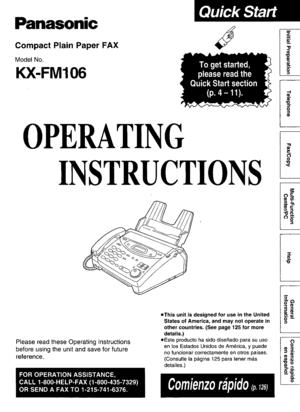 Panasonic Kx Fm106 Operating Instruction Manual