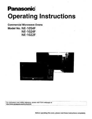 Panasonic Microwave Ovens Ne 1054f Operating Instructions