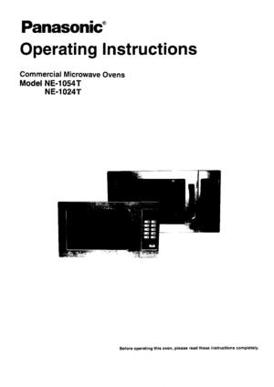 Panasonic Microwave Ovens Ne 1054t Operating Instructions
