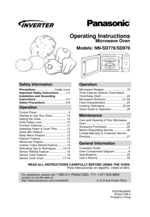 Panasonic Microwave Oven Nn Sd778 Operating Instructions