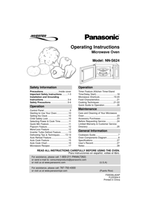 Panasonic Microwave Oven Nn S624 Operating Instructions
