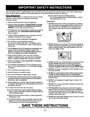 Panasonic Microwave Oven Nn S688 Operating Instructions