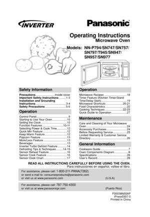 Panasonic Microwave Oven Nn P794_sn747_sn757_sn797_t945