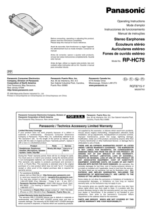 Panasonic Rp Hc75 Operating Instructions Manual