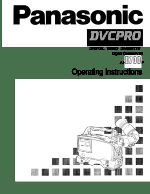 Panasonic Aj D700_200dpi Operating Instructions Manual