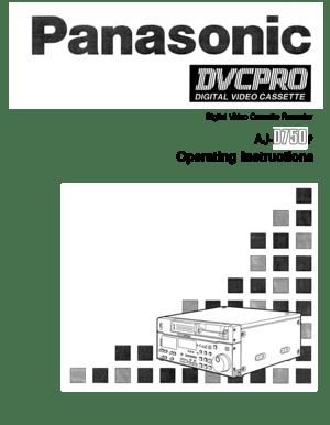 Panasonic Aj D750 Operating Instructions Manual