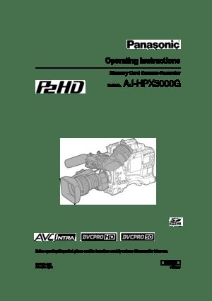 Panasonic Memory Card Camera Recorder Ajhpx3000g Operating