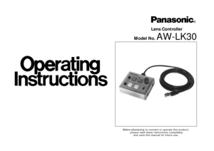 Panasonic Lens Controller Lk30 Operating Instructions