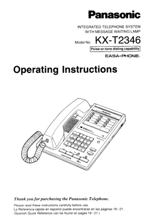 Panasonic Kx T2346 Operating Instructions Manual