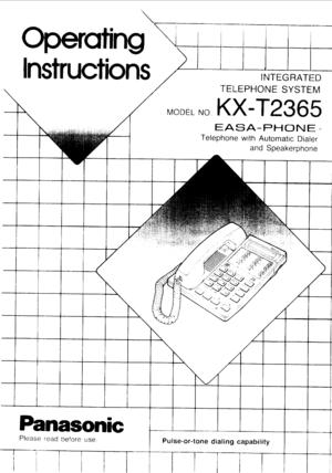 Panasonic Kx T2365 Operating Instructions Manual