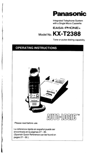 Panasonic Kx T2388 Operating Instructions Manual