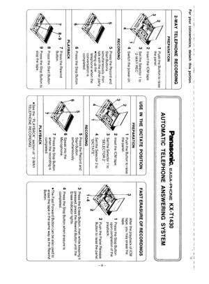 Panasonic Kx T1430 Operating Instructions Manual