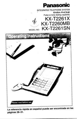 Panasonic Kx T2261 Operating Instructions Manual