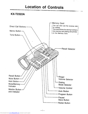 Panasonic Kx T2322a Operating Instructions Manual