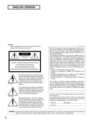 Panasonic Wv Nm100 Operating Instructions Manual