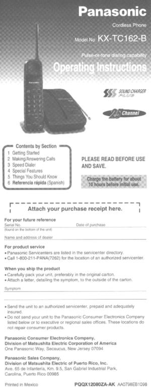 Panasonic Kx Tc162 Operating Instructions Manual