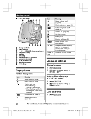 Panasonic Kx Tgc350 Operating Instructions Manual