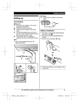 Panasonic Kx Tgf340 Operating Instructions Manual